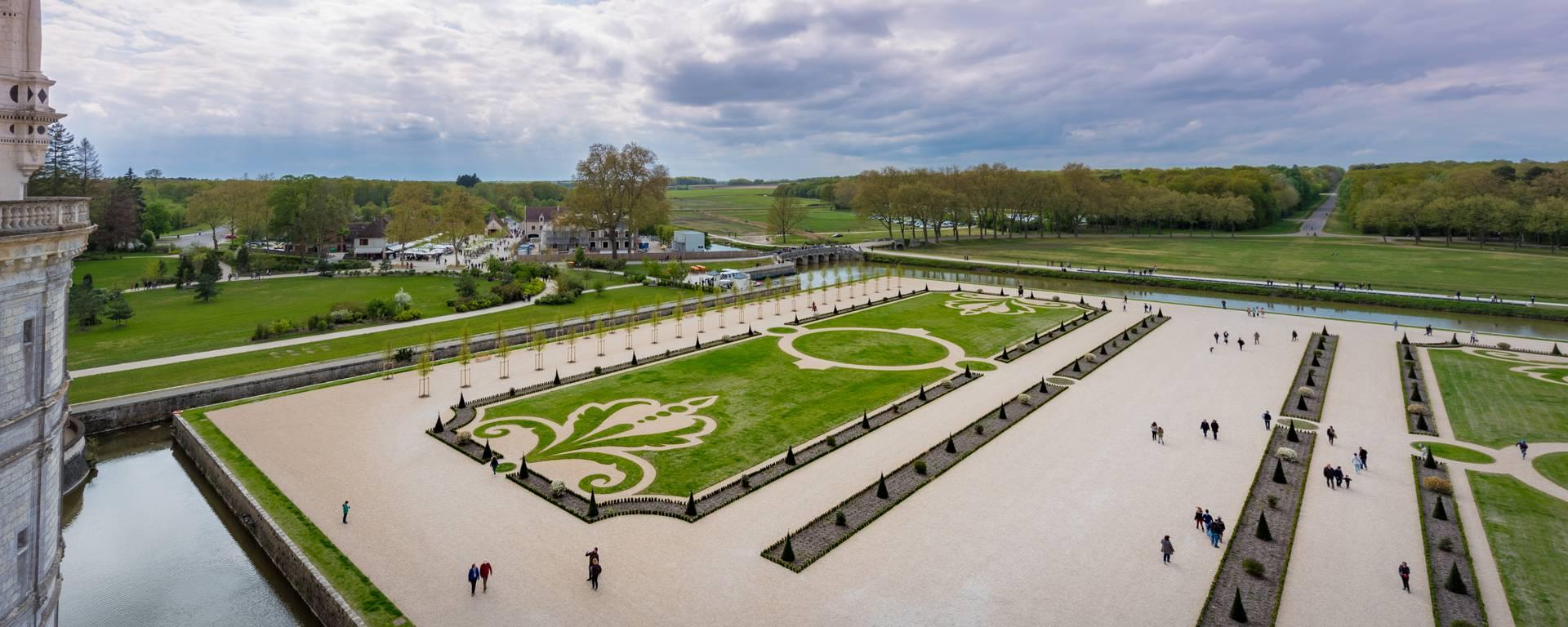I giardini di Chambord visti dal cielo