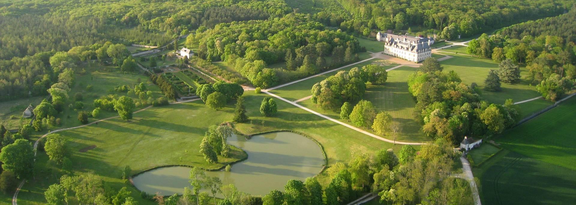 Il castello di Beauregard visto dal cielo